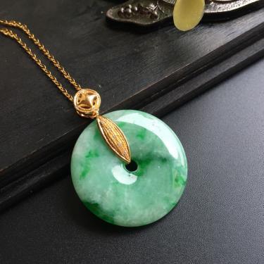 18K黄金钻石镶嵌翡翠平安扣